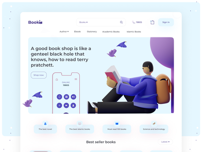Book shop landing page ux design web ui design layout website design 3d illustrations illustration creative design e-commerce website landing page concept design landing page shop uxdesign landingpage webdesign book shop