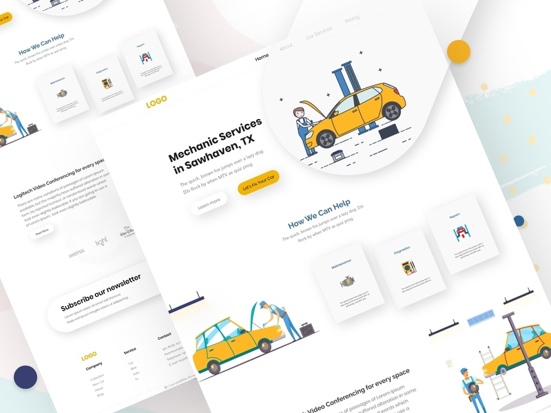 Automotive- Mechanic Services Landing Page vector creative design graphic design landing page concept web ui ux dribbble full time job full time freelance uxdesign web ui design website design ui ux landing page services automotive-mechanic