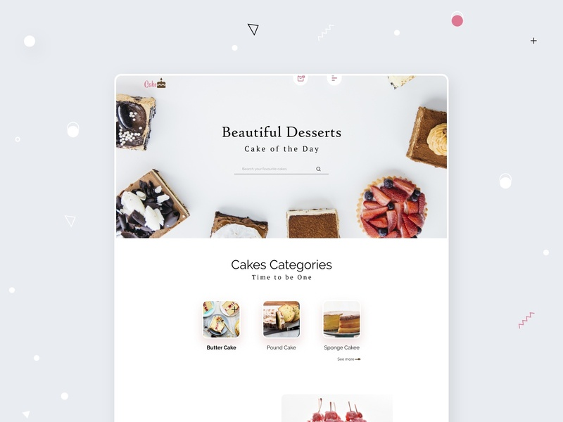 Cake🎂 cake shop website e-commerce website creative design dribbbble landing page web ui design ui ux cake landing page concept cake shop design cake landing page