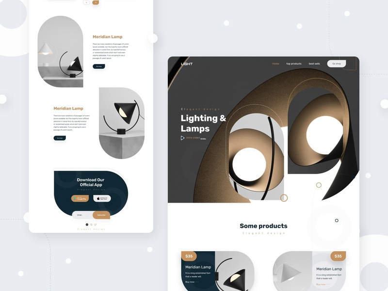 Lamps designs trending 2019 landing design light graphic design creative design e-commerce website ui ux typography design landing page product lamps landing landing page concept lamp