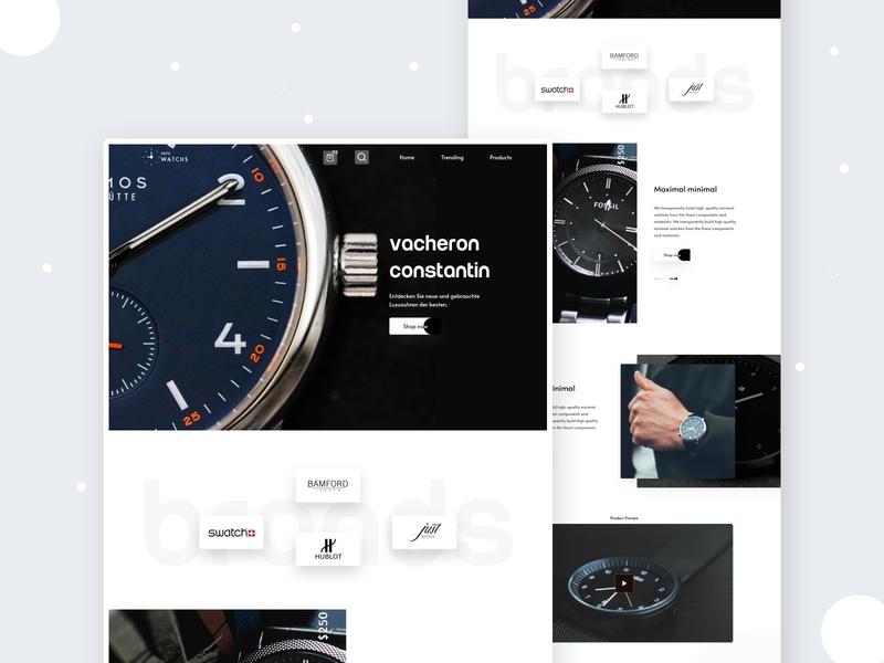 Watch 2020 trend typography full time job e-commerce website web ui design ui ux dribbbble landing page creative design design landing page concept watch