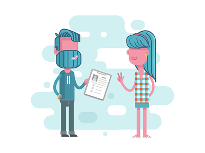 Interview character design character design 2d vector flat illustration hello hi guy woman girl man interview