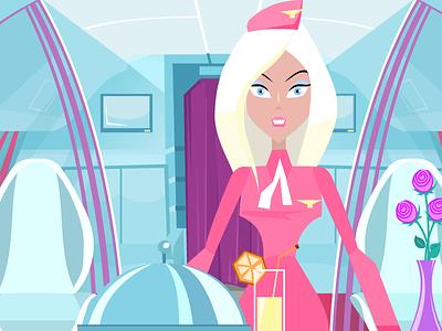 Stewardess illustration jet airplane airline travel character design character sexy aviation glamor fashion stewardess
