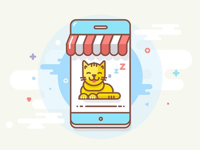 Cat icon iconography illustration happy outline mobile pixel icon character vector cute pet cat