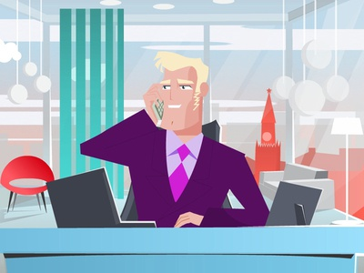 director's office illustration fashion kremlin director office businessman vector man character design flat 2d