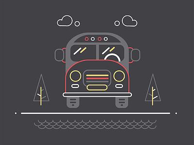 Bus black autobus 2d iconography illustration icon line outline car automobile auto bus