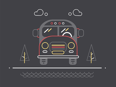 Bus black autobus 2d iconography illustration icon line outline car automobile auto bus