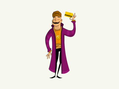 Mage robe medallion card art vector 2d character design sorcerer magician wizard mage