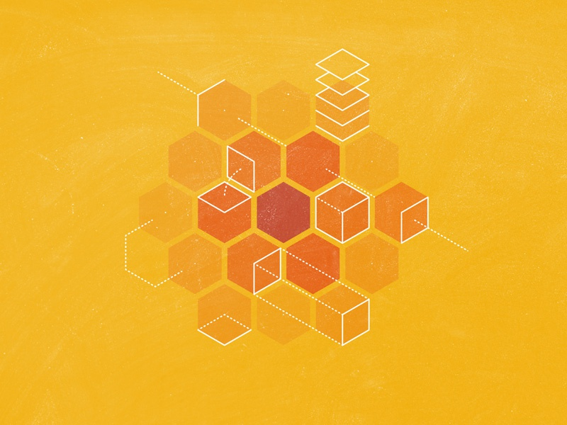 Advanced Algorithms hexagons math cube algorithm warm lines tech illustrator photoshop honey comb isometric