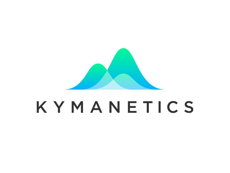Kymanetics Logo icon curves illustrator vector gradient logo identity branding smooth waves logo design micro nano science wave logo