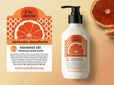 O'so divine Satsuma Mandarin Label Design pattern mandarin orange soap label design