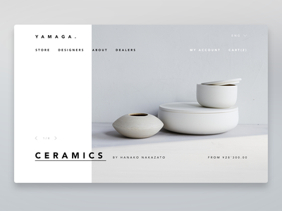 Y A M A G A . home ui ux design furnitures pot photo white commerce slideshow homepage store ecommerce ui