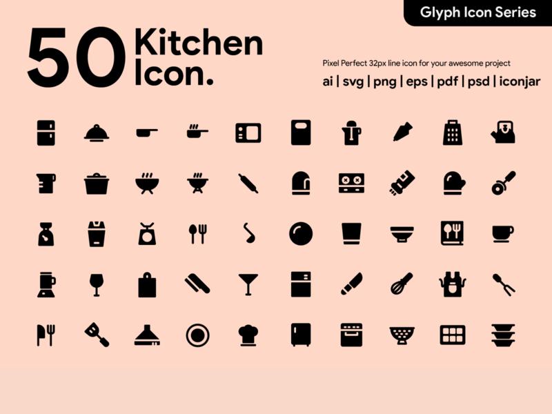 Kawaicon - 50 Kitchen Glyph Icon Set iconography pictogram icons vector ux ui pixel perfect icon design glyph icon icon set icon icon design icon app icon a day