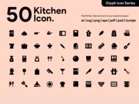 Kawaicon - 50 Kitchen Glyph Icon Set