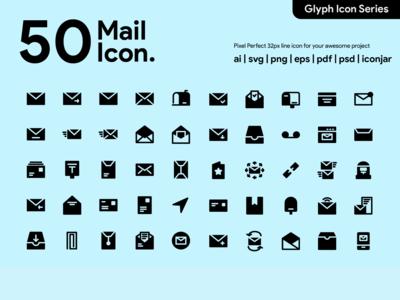Kawaicon - 50 Mail Glyph Icon Set
