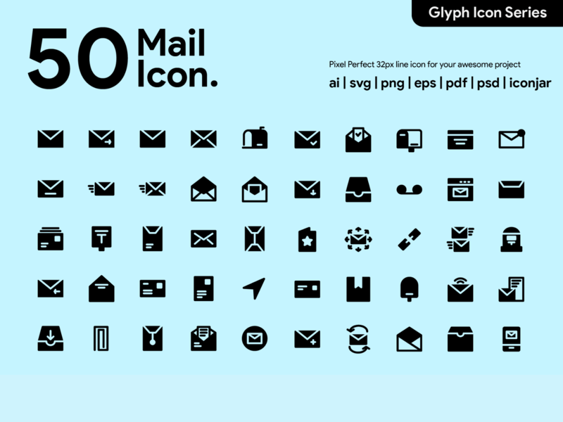 Kawaicon - 50 Mail Glyph Icon Set iconography pixel perrfect icon mail mail icon design app ux ui icon packs glyph icon icon icon set icon design icon app icon a day