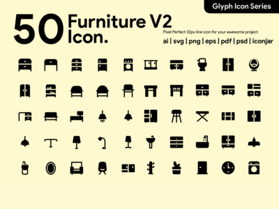 Kawaicon - 50 Furniture Glyph icon Set