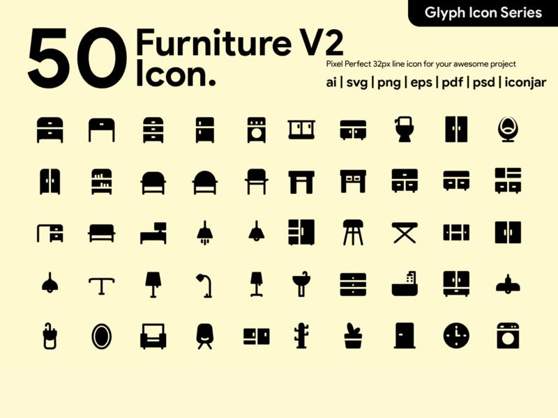 Kawaicon - 50 Furniture Glyph icon Set ui vector furniture furniture icon icon packs glyph icon pixel perfect icon design icon illustration icon set icon design icon app icon a day