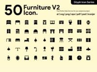 Kawaicon - 50 Furniture Glyph icon Set