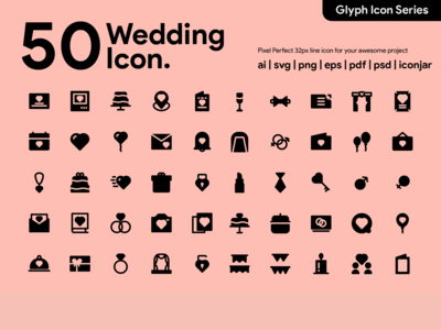 Kawaicon - 50 Wedding Glyph Icon Set