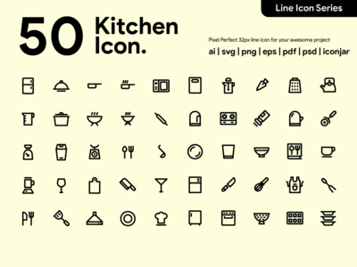 Kawaincon - 50 Kitchen Line Icon