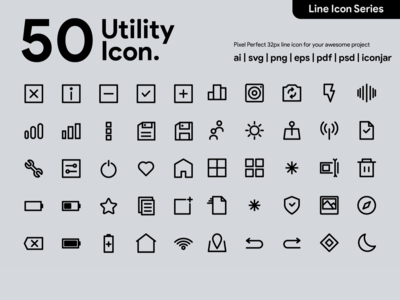Kawaicon - 50 Utility Line Icon
