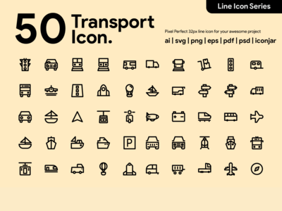 Kawaicon - 50 transportation Line Icon