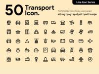 Kawaicon - 50 transportation Line Icon