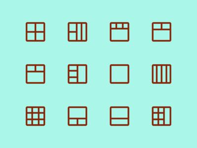 Grid icons line