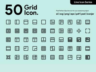 Kawaicon - 50 Grid Line Icon