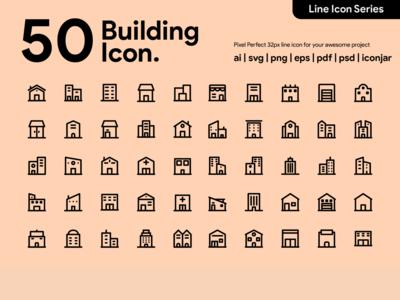 Kawaicon - 50 Building Line Icon