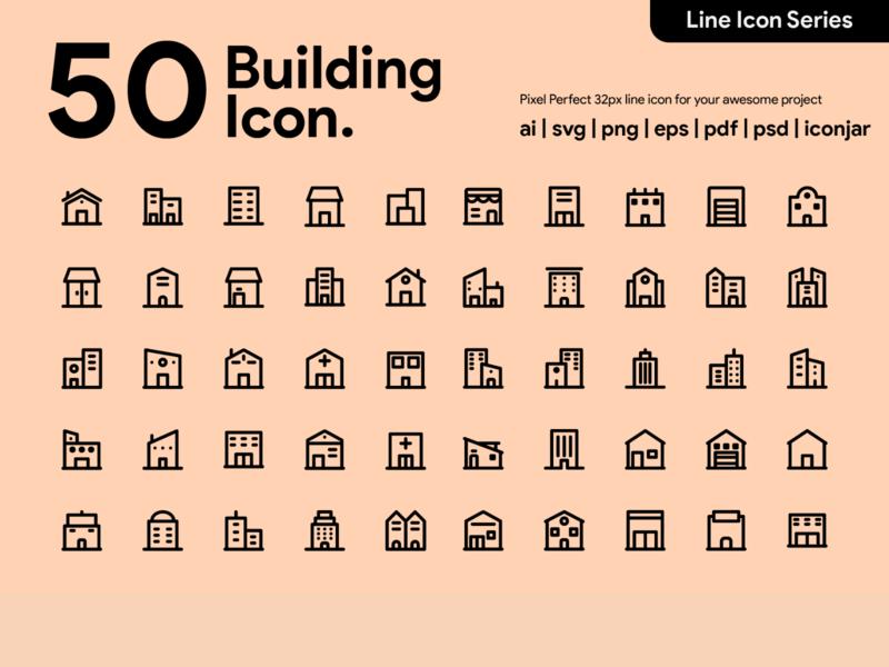 Kawaicon - 50 Building Line Icon building pixel perfect icon icon packs design line line icon icon icon set icon design icon app icon a day