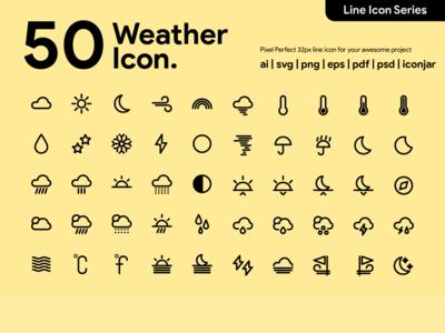 Kawaicon - 50 Weather Line Icon