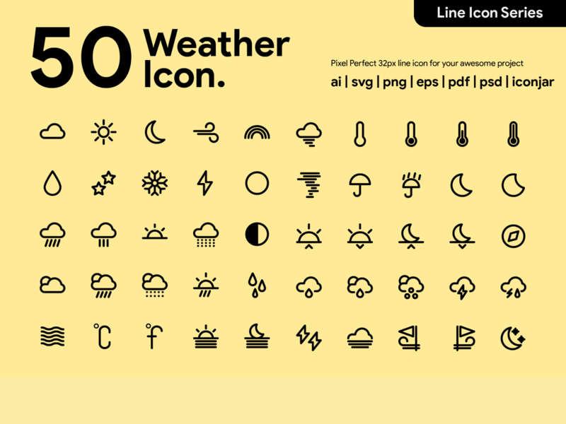 Kawaicon - 50 Weather Line Icon pixel perfect icon line design line icon illustration icon set icon icon design icon app icon a day weather icons