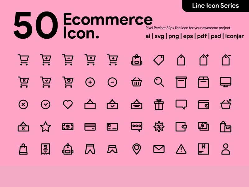 Kawaicon - 50 Ecommerce Line Icon icon packs pixel perfect icon line line icon illustration icon set icon icon design icon app icon a day ecommerce