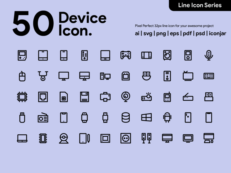 Kawaicon - 50 Device Line icon pixel perfect icon line icon icon icon set icon design design icon app icon a day electronic technology device device icon