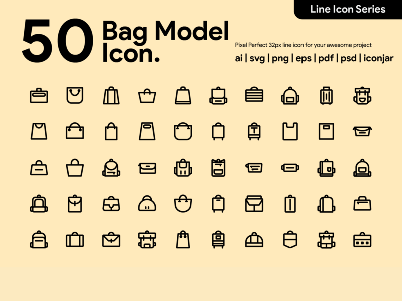 Kawaicon - 50 Bag Model Line Icon pixel perfect icon bag design bag bag icon icon packs design line icon icon illustration icon set icon design icon app icon a day