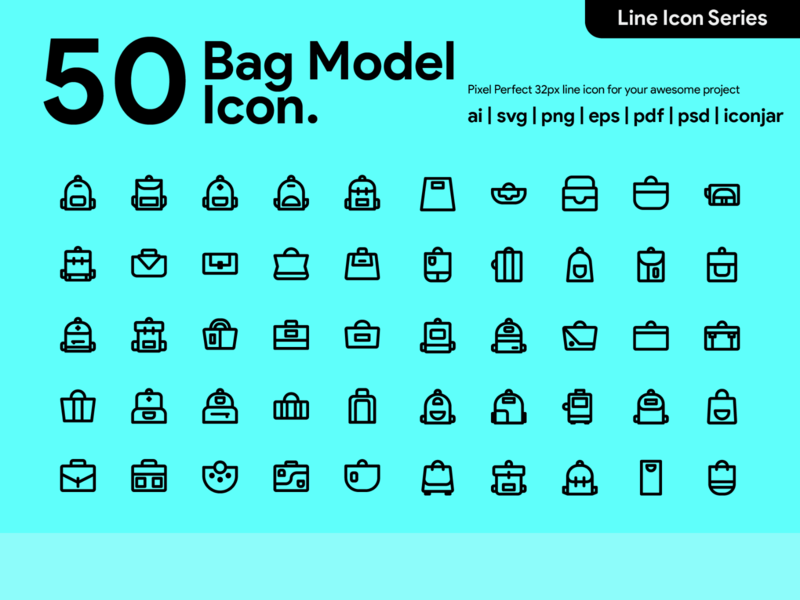 Kawaicon - 50 Bag Model icon V2 icon packs icon line icon illustration icon set icon design icon app icon a day bag design bags bag style bag icon