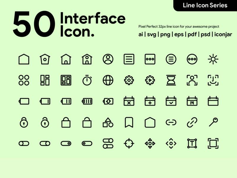 Kawaicon - 50 Interface Line Icon pixel perfect icon icon packs design line icon illustration icon set icon design icon app icon a day icon ui interface icon