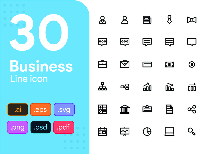 30 Business Line Icon Set business icon pack pixel perfect icon laptop businessman communication startup business line icon icon set icon design icon app icon a day