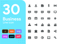 30 Business Line Icon Set