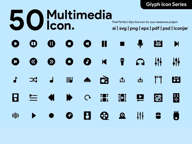 Kawaicon - 50 Multimedia Glyph icon Set media icon multimedia ui glyph icon pixel perfect icon icon packs design illustration icon icon set icon design icon app icon a day
