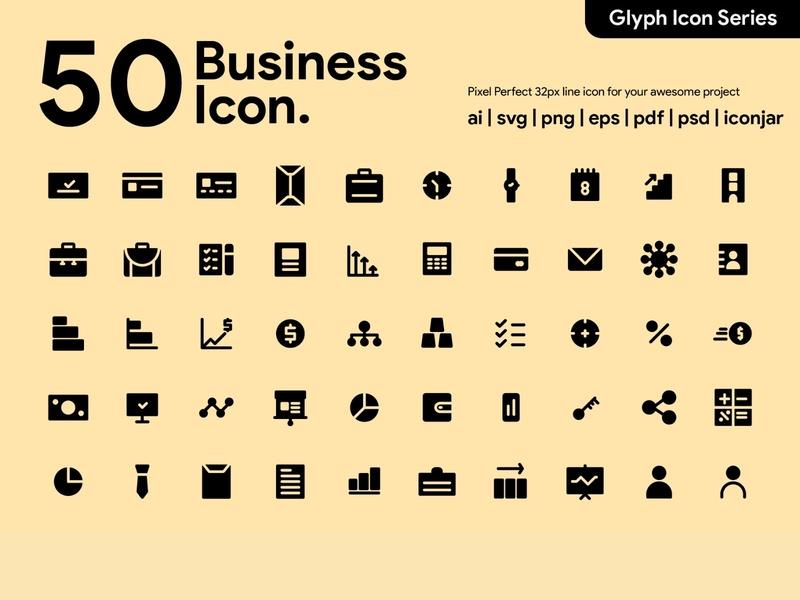 Kawaicon - 50 Business Glyph Icon Set work business business icons ui glyph icon pixel perfect icon icon packs illustration icon icon set icon design icon app icon a day