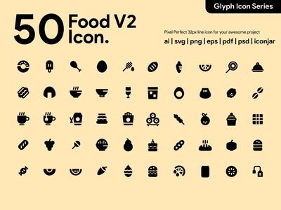 Kawaicon - 50 Foood Glyph Icon Set