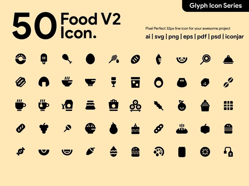 Kawaicon - 50 Foood Glyph Icon Set bread icecream burger food icons food icon pixel perfect icon icon packs design glyph icon icon illustration icon set icon design icon app icon a day