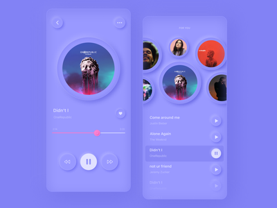 Music Player | Daily mood light new colors purple round app mobile music player music neomorphic neomorphism gradient inspiration ui
