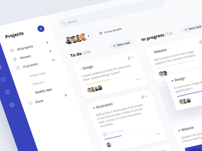 Taskee: to do list managing team collaboration cards projects insights dashboard design system user interface web application to do app task schedule interface product design app design web design web app application