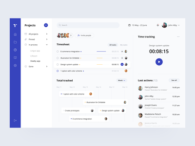 Taskee: time tracking web design user interface time time tracker to do team schedule projects product design managing interface insights design system dashboard collaboration cards app task application app design app