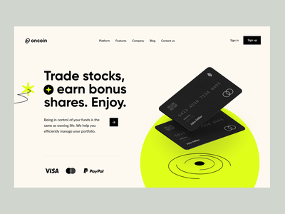 Oncoin: product page visual design webdesign website web design visual identity product design landing page header fintech finance homepage