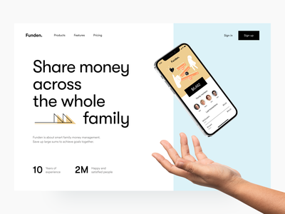 Funden: home page finance product design fintech landing page web header main
